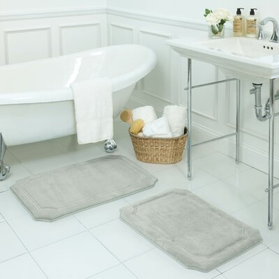 Walden Large 2 Piece Premium Micro Plush Memory Foam Bath Mat Set Color: Light Grey