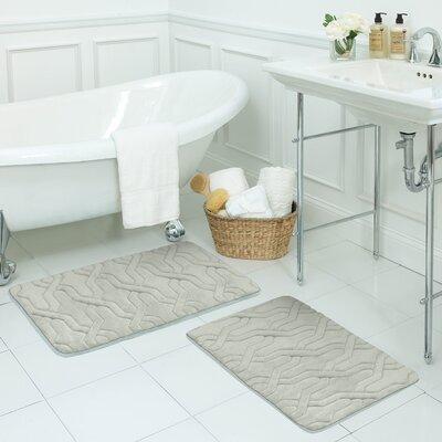 Drona Small 2 Piece Premium Micro Plush Memory Foam Bath Mat Set Color: Light Grey