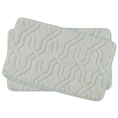 Drona Small 2 Piece Premium Micro Plush Memory Foam Bath Mat Set Color: Light Grey