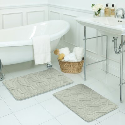 Drona Large 2 Piece Premium Micro Plush Memory Foam Bath Mat Set Color: Light Grey
