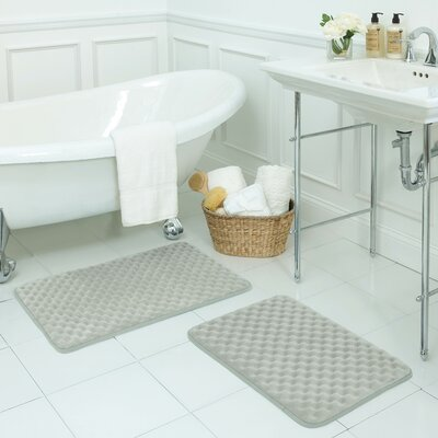 Massage Premium Micro Plush Memory Foam Bath Mat Set Color: Light Grey