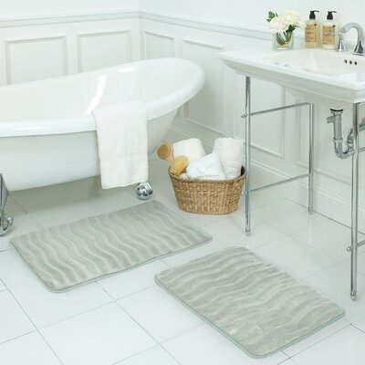 Waves Small Premium Micro Plush Memory Foam Bath Mat Set Color: Light Grey