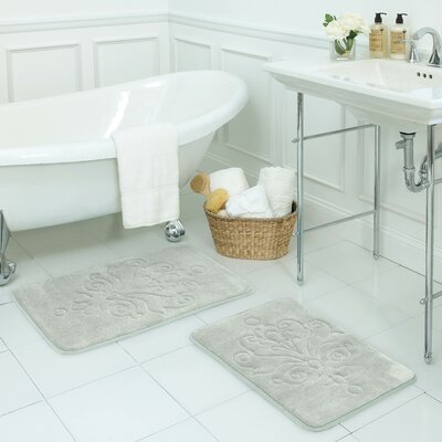Reve 2 Piece Micro Plush Memory Foam Bath Mat Set Color: Light Grey