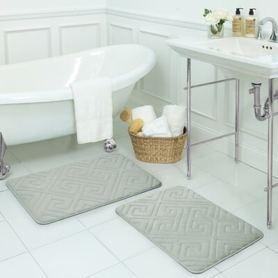 Caicos Large 2 Piece Premium Micro Plush Memory Foam Bath Mat Set Color: Light Grey