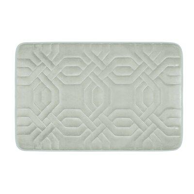 Chain Ring Premium Micro Plush Memory Foam Bath Mat Color: Light Grey, Size: 24 x 17