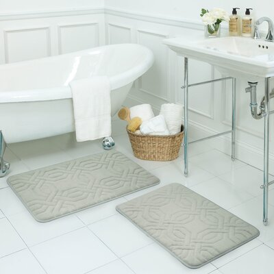 Chain Ring Small 2 Piece Premium Micro Plush Memory Foam Bath Mat Set Color: Light Grey