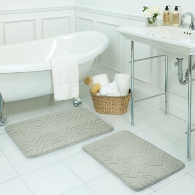 Chain Ring Large 2 Piece Premium Micro Plush Memory Foam Bath Mat Set Color: Light Grey