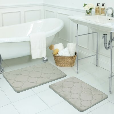 Dorothy Small 2 Piece Premium Micro Plush Memory Foam Bath Mat Set Color: Light Grey
