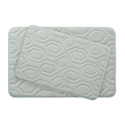 Turtle Shell Large 2 Piece Premium Micro Plush Memory Foam Bath Mat Set Color: Light Grey