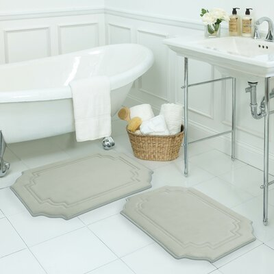 Calypso Large 2 Piece Premium Micro Plush Memory Foam Bath Mat Set Color: Light Grey