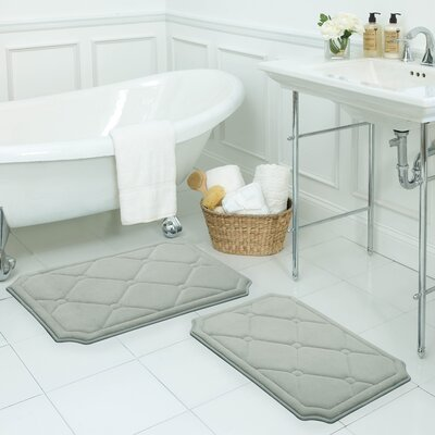 Gertie Large 2 Piece Premium Micro Plush Memory Foam Bath Mat Set Color: Light Grey