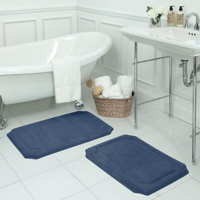 Walden Small 2 Piece Premium Micro Plush Memory Foam Bath Mat Set Color: Dusty Blue
