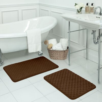 Massage 2 Piece Premium Micro Plush Memory Foam Bath Mat Set Color: Chocolate
