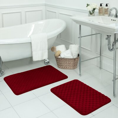 Massage Premium Micro Plush Memory Foam Bath Mat Set Color: Burgundy