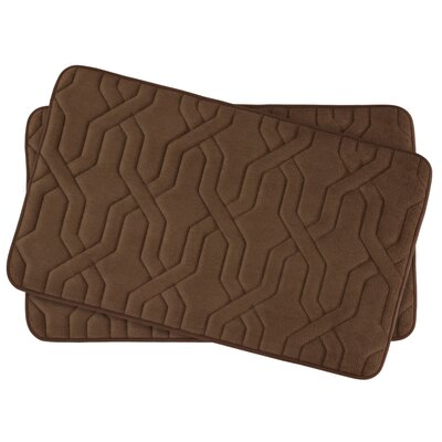 Drona Small 2 Piece Premium Micro Plush Memory Foam Bath Mat Set Color: Mocha