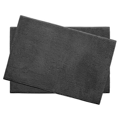 Plush Memory Foam Chenille Cushioned Bath Mat Color: Dark Grey, Size: 24 x 17