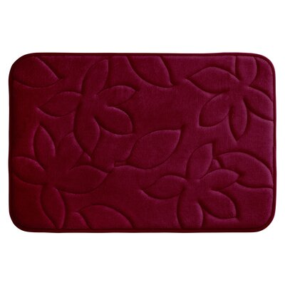 Blowing Leaves Plush Memory Foam Bath Mat Color: Barn Red, Size: 20 X 34