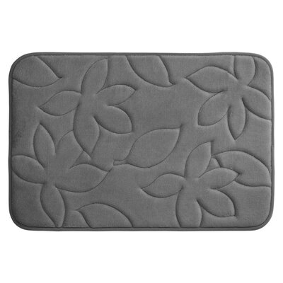 Blowing Leaves Plush Memory Foam Bath Mat Color: Dark Grey, Size: 20