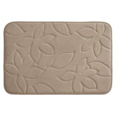 Blowing Leaves Plush Memory Foam Bath Mat Color: Linen, Size: 20