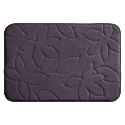 Blowing Leaves Plush Memory Foam Bath Mat Color: Plum, Size: 17 X 24