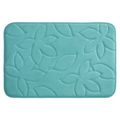 Blowing Leaves Plush Memory Foam Bath Mat Color: Turquoise, Size: 17