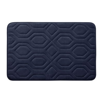 Turtle Shell Premium Micro Plush Memory Foam Bath Mat Size: 17 W x 24 L, Color: Indigo
