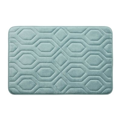 Turtle Shell Premium Micro Plush Memory Foam Bath Mat Size: 17 W x 24 L, Color: Aqua