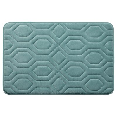 Turtle Shell Premium Micro Plush Memory Foam Bath Mat Size: 17 W x 24 L, Color: Marine Blue