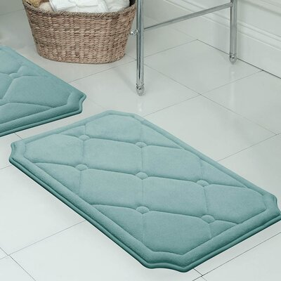 Gertie Premium Micro Plush Memory Foam Bath Mat Color: Marine Blue, Size: 24 x 17