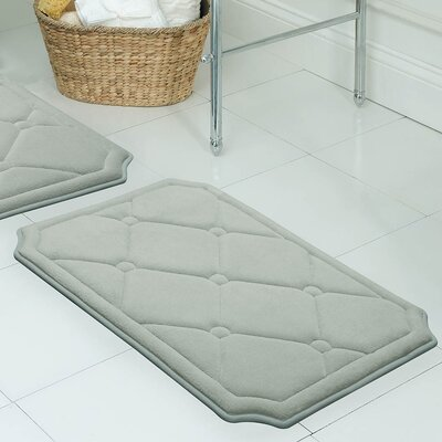 Gertie Premium Micro Plush Memory Foam Bath Mat Color: Light Grey, Size: 32 x 20