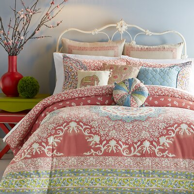 Amrita Medallion 400 Thread Count 100% Cotton Comforter Set Size: Queen