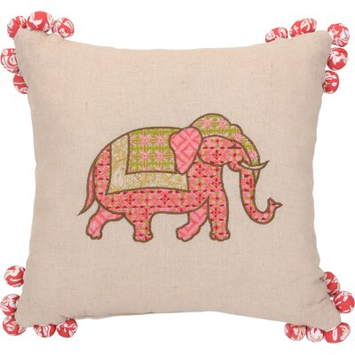 Amrita Medallion Elephant Tassel Cotton Throw Pillow