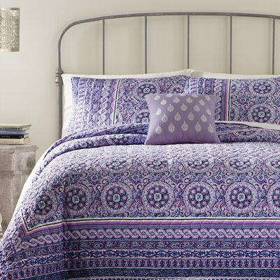 Mosaic Border Quilt Size: Queen, Color: Purple