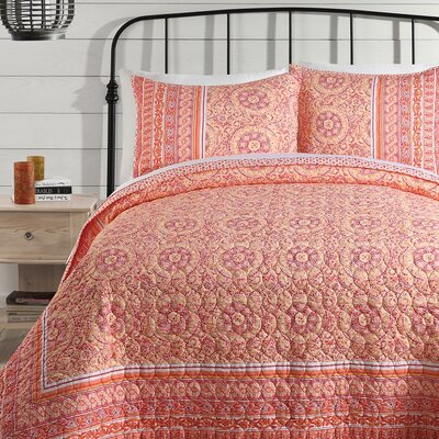 Mosaic Border Quilt Size: King, Color: Orange