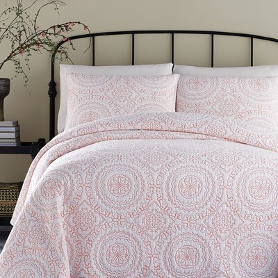 Medallion Coverlet Size: Twin, Color: Coral