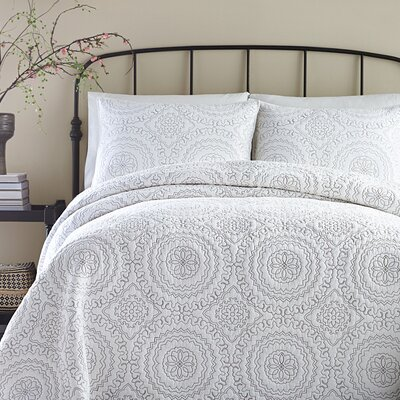Medallion Coverlet Size: King, Color: Gray