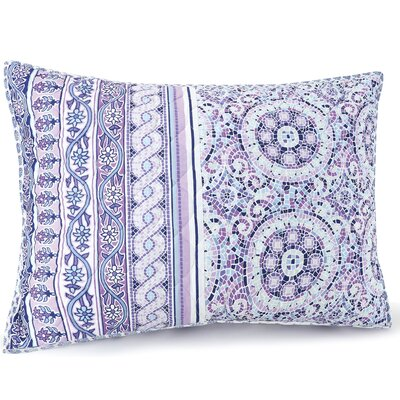 Mosaic Border Quilted Sham Color: Purple