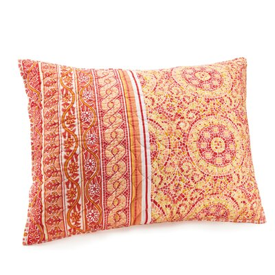 Mosaic Border Quilted Sham Color: Orange