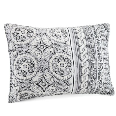 Mosaic Border Quilted Sham Color: Gray