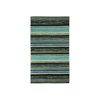 Mollins Cotton Dark Blue/Green Area Rug Rug Size: Rectangle 1'8