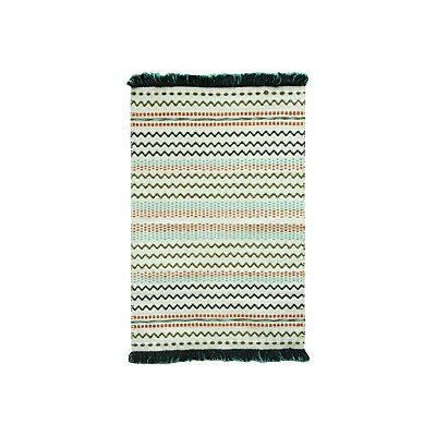 Razzel Cotton Green/Blue Area Rug Rug Size: Rectangle 23 x 39