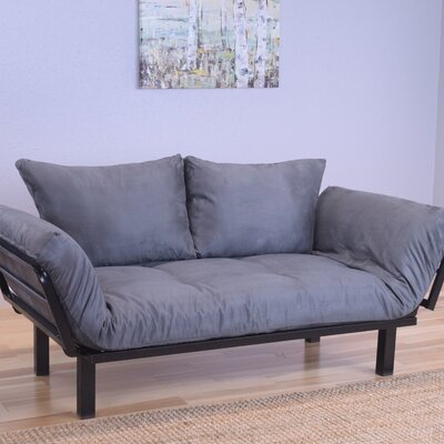 Everett Black Convertible Lounger Futon and Mattress Mattress Color: Gray