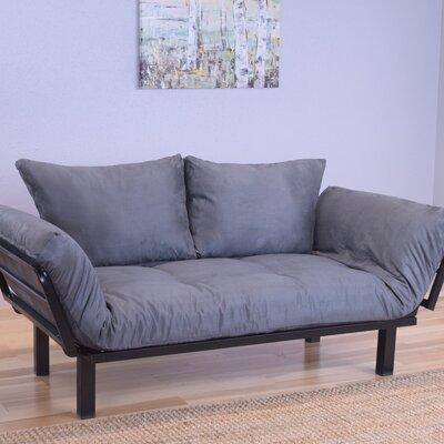 Ebern Designs EBND5028 Everett Black Convertible Lounger Futon and Mattress Mattress