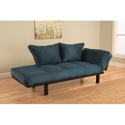 Everett Black Convertible Lounger Futon and Mattress Mattress Color: Navy