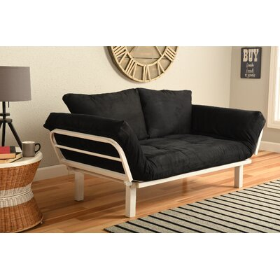 Everett Convertible Lounger Futon and Mattress Upholstery: Suede Black
