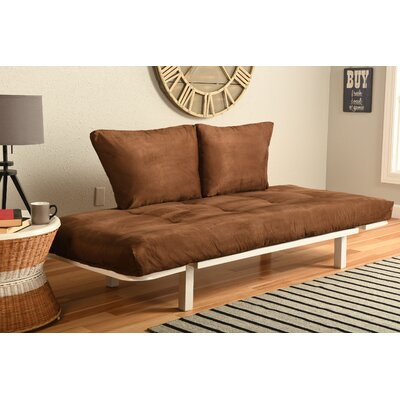 Everett Convertible Lounger Futon and Mattress Upholstery: Suede Chocolate