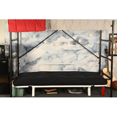 Covington Convertible Futon and Mattress Upholstery: Suede Black, Finish: White
