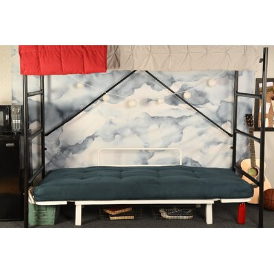 Covington Convertible Futon and Mattress Upholstery: Suede Navy, Finish: White