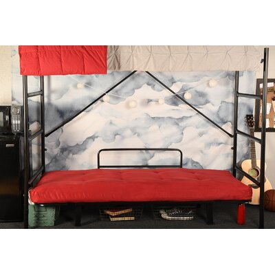 Covington Convertible Futon and Mattress Upholstery: Suede Red, Finish: Black