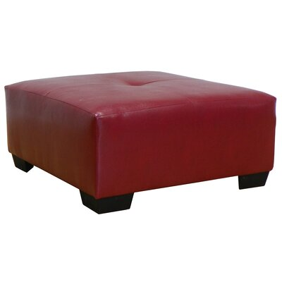 Camden Leather Ottoman Upholstery: San Marino Red